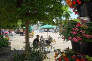 Crediton Town Square - sunny day and parasols